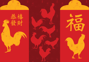 Chinese New Year Rooster Red Packet - vector #392965 gratis