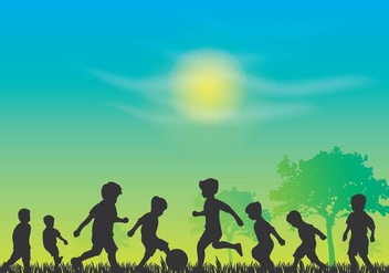 Childrens Day Silhouette Vector - Kostenloses vector #392975