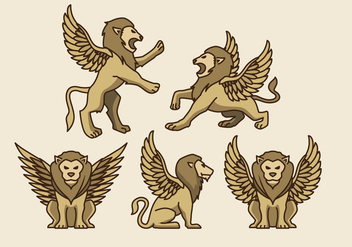 Golden Symbolic Winged Lion Vectors - бесплатный vector #393015