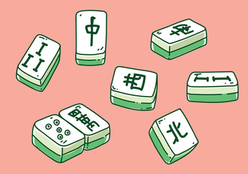 Mahjong Hand Drawn Vector - бесплатный vector #393075