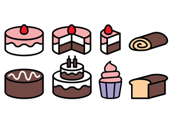 Free Cake Icon Set - vector #393215 gratis