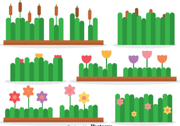 Reeds And Flowers Collection Vector - Free vector #393335