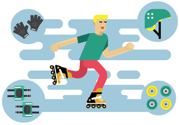 Free Illustration Character of Roller Blade Skater Vector - бесплатный vector #393485