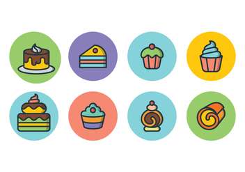 Free Cake Icon Set - vector gratuit #393555