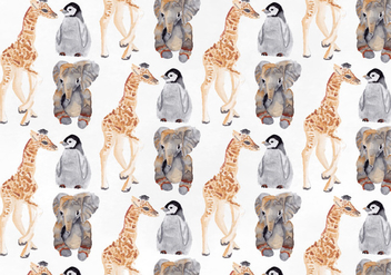 Free Vector Watercolor Animal Pattern - бесплатный vector #393565