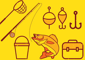 Fishing Icons Set - Free vector #393615