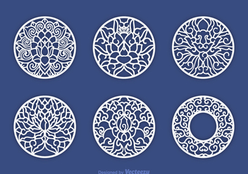 Free Decorative Laser Cut Vector Set - Kostenloses vector #393625