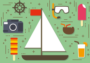 Flat Summer Sailboat Elements Vector - бесплатный vector #393725
