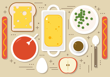 Flat Foods Vector Illustration - Free vector #393855