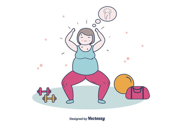 Fat Women Exercising - vector gratuit #393895