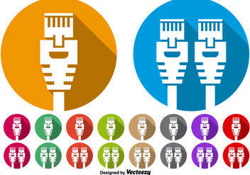 Vector Set Of Ethernet Port Icon Buttons - бесплатный vector #393905