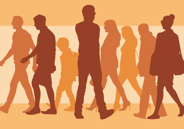 Walking People Silhouette - vector gratuit #394075