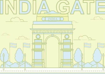 Free India Gate Illustration - бесплатный vector #394085