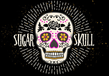 Bright Sugar Skull Vector Illustration - vector gratuit #394135