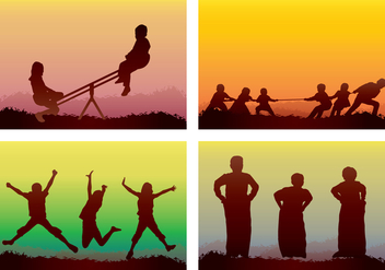 Children Playing Silhouette - vector gratuit #394185