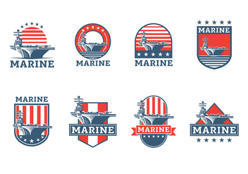 Aircraft Carrier Badge Vector Free - бесплатный vector #394195