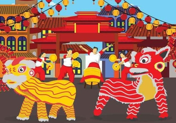 Free Lion Dance illustration - vector gratuit #394525