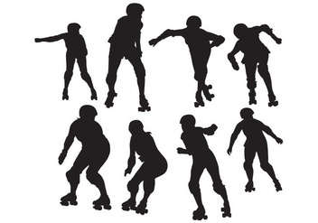 Free Roller Skating Silhouettes Vector - Free vector #394675