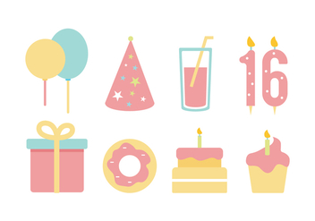 Free Birthday Flat Icon Set - бесплатный vector #394685