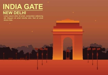 Free India Gate Illustration - бесплатный vector #394725
