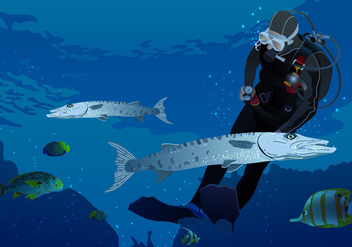 Swimming With Barracuda Vector - Free vector #394855