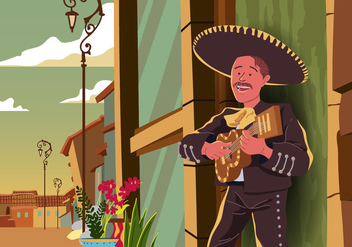 Mariachi playing guitar - Free vector #394975