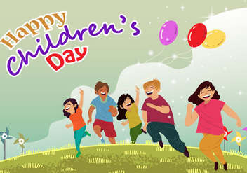 Childrens Day Card Vector - Free vector #395015