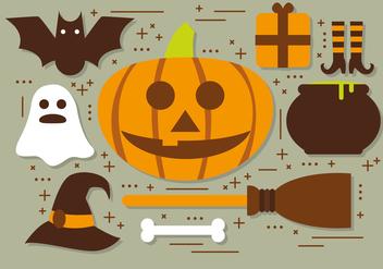 Pumpkin Halloween Elements Vector Collection - Free vector #395055