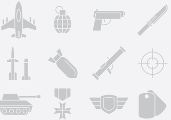 Gray Weapon And Army Icons - vector #395175 gratis