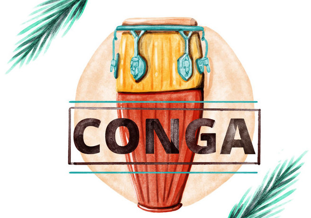 Free Conga Watercolor Vector - Free vector #395265