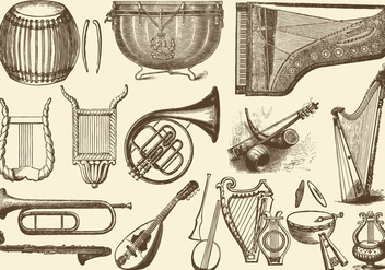 Vintage Orchestra Music Instruments - Kostenloses vector #395305