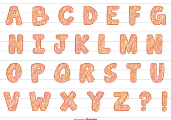 Cute Hand Drawn Marker Alphabet - vector #395615 gratis