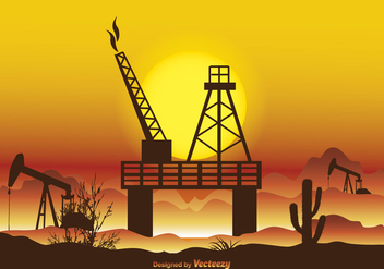 Oil Field Vector Illustration - vector gratuit #395655