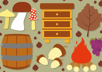 Flat Autumn Vector Elements - Free vector #395825