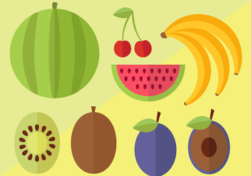 Flat Fruit Vector Pack - vector gratuit #395915