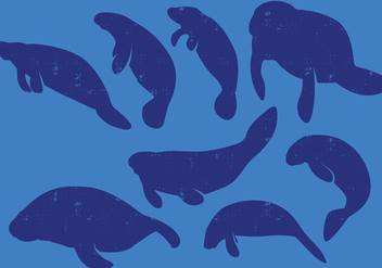 Manatee Silhouettes - Free vector #395995
