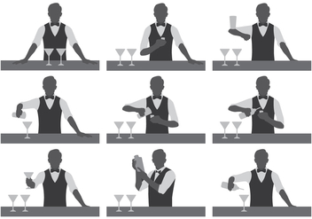 Bartender Vector Silhouettes - Free vector #396035