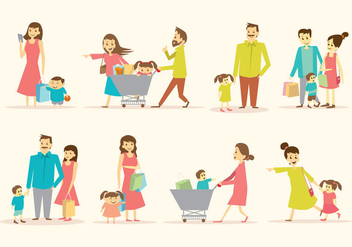 Free Family Shopping Together Vector - Kostenloses vector #396145