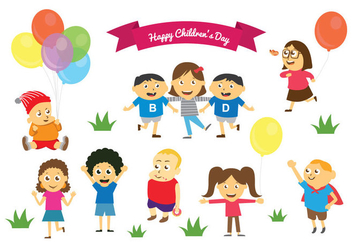 Free Happy Children's Day Vectors - vector gratuit #396175