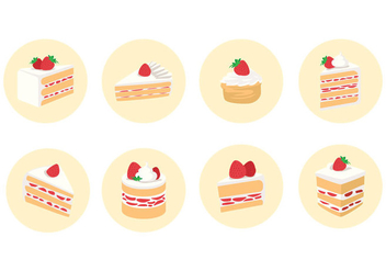 Sliced Strawberry Shortcake Vector - vector gratuit #396195