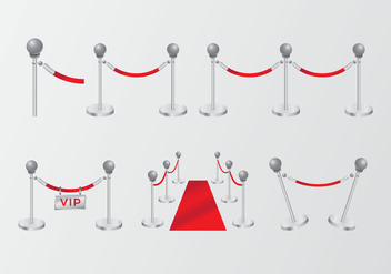 High class gradient red velvet rope - бесплатный vector #396425