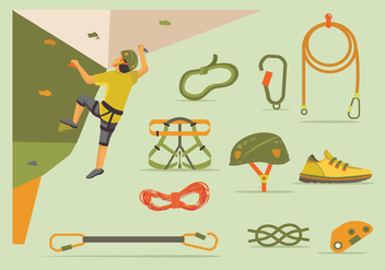 Wall climbing gear set - Free vector #396435