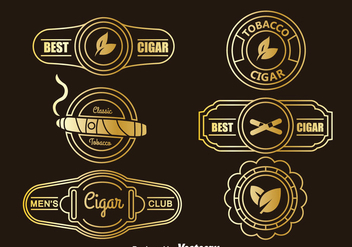 Golden Cigar Label Collection Vector - vector gratuit #396595
