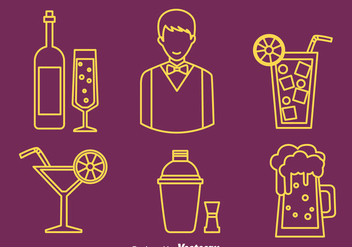 Barman Element Line Icons Vector - vector gratuit #396615