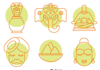 India Culture Element Icons Vector Set - vector gratuit #396735