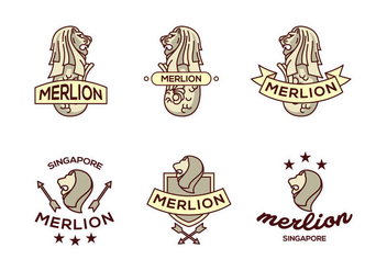 Merlion lion logo vector pack - бесплатный vector #396865