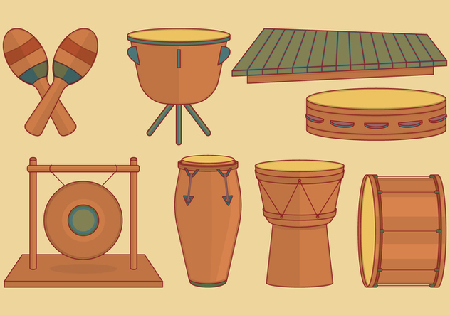 Percussion Instruments Set - Free vector #396885