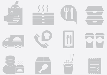 Gray Food Delivery Icons - vector gratuit #396895
