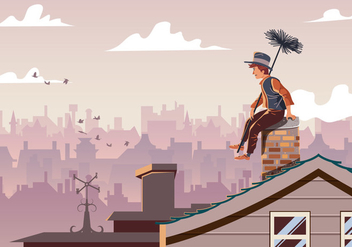 Chimney Sweep Sitting On Pipe - бесплатный vector #396965
