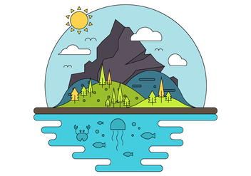 Flat Island Illustration - Free vector #396985